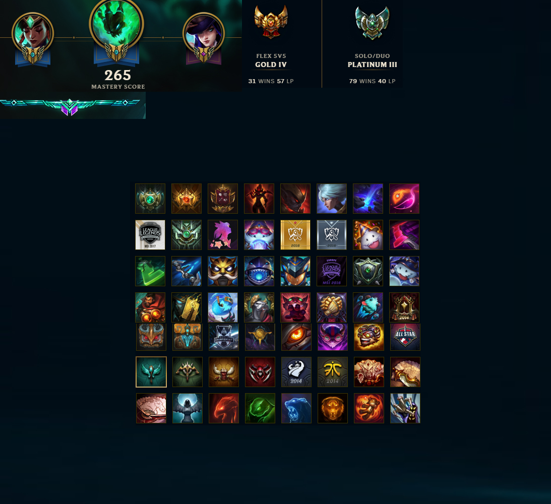 League Of Legends Account For Sale Platinum Iii S7 139 Champions