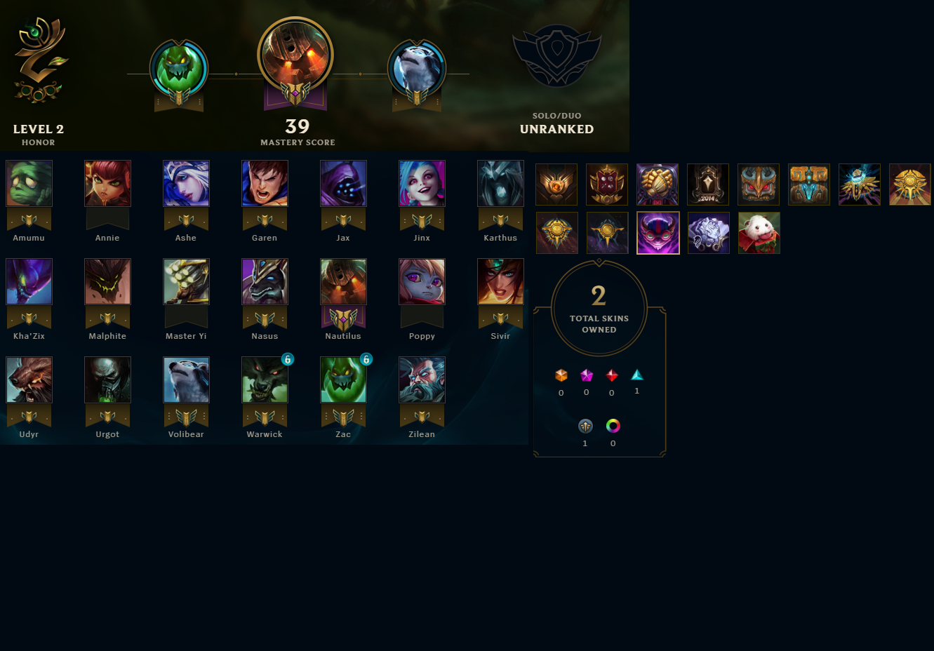 League Of Legends Account For Sale Unranked Bronze S7 20
