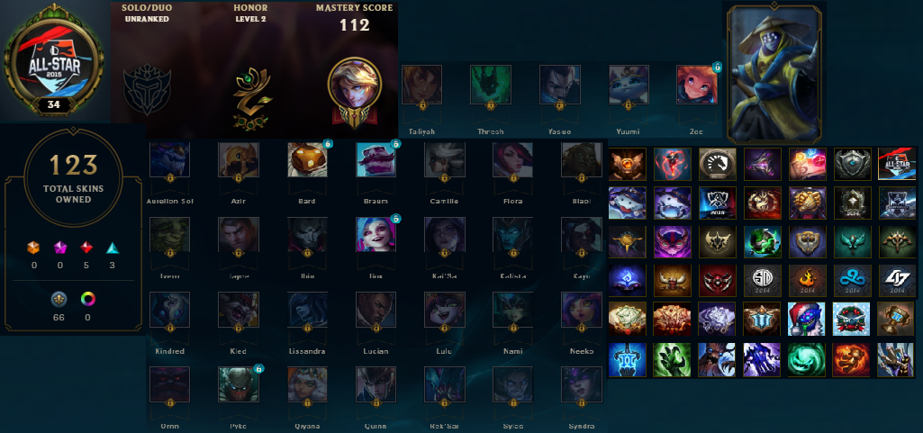 Unranked | 112 Champions | 123 Skins | S5, S4 Silver | Pax Jax | Mastery 112