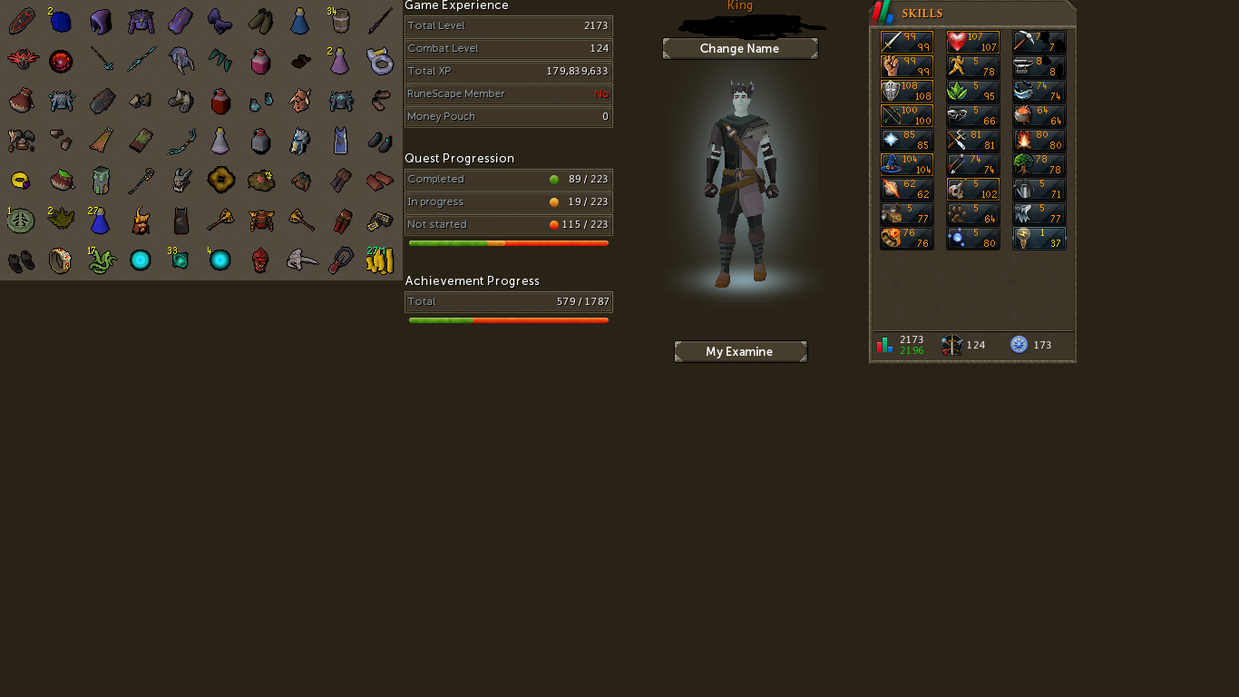 Runescape 3 Account For Sale Combat 124 Total Skill 2173 102